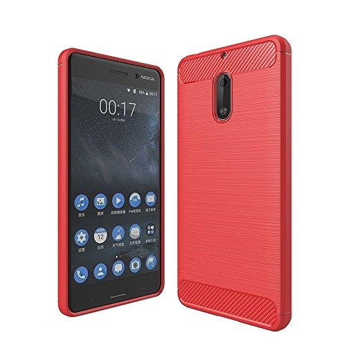 Tuff-Luv Housse de protection contre les chocs antidérapante TPU pour fibre de carbone brossé pour Nokia 5 - Rogue