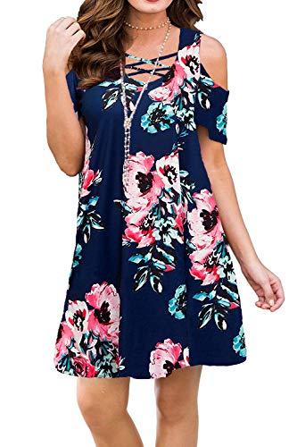 BLUETIME Women Plus Size Dresses Cold Shoulder Short Sleeve Casual Loose T-Shirt Floral Printed Dresses (XXL, Floral8)