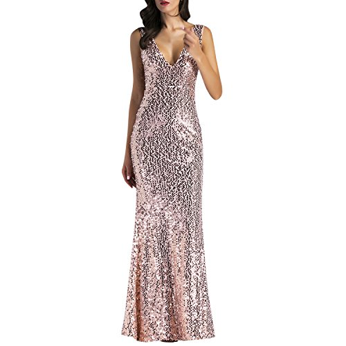 Lisli Women Sparkly Rose Gold Long Sequins Bridesmaid Dress Prom Evening Gowns Mermaid Sexy Party Club Wedding