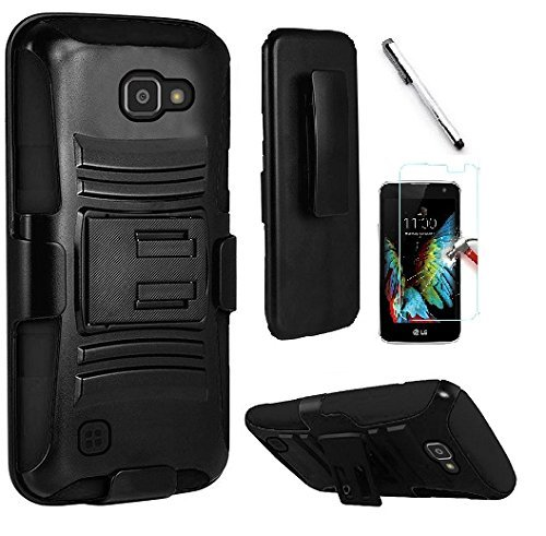 Belt Faceplate Blue Clip (TracFone LG Rebel 4G LTE / LG K4 VS425 case, Luckiefind Dual Layer Hybrid Side Kickstand Cover Case With Holster Clip, Stylus Pen, Tempered Glass Screen Protector Accessory (Holster Black))