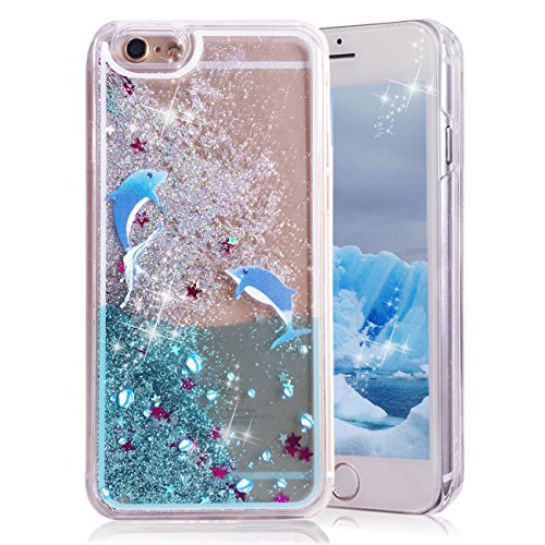 iPhone 6 Plus Case,Crazy Panda® 3D Creative Liquid Glitter Design iPhone 6 Plus Liquid Quicksand Bling Adorable flowing Floating Moving Shine Glitter Case iPhone 6 Plus/6S Plus - Dophin