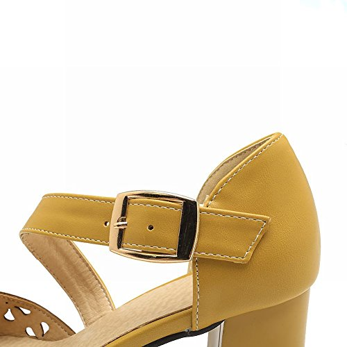 Block Ankle Strap Women's Heel Mee Dolly Court Yellow Shoes Shoes wxqX6cpCH