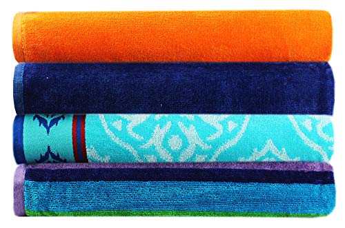 Cotton Craft - 4-Pack Assorted Velour Beach Towels Best Beach Towels