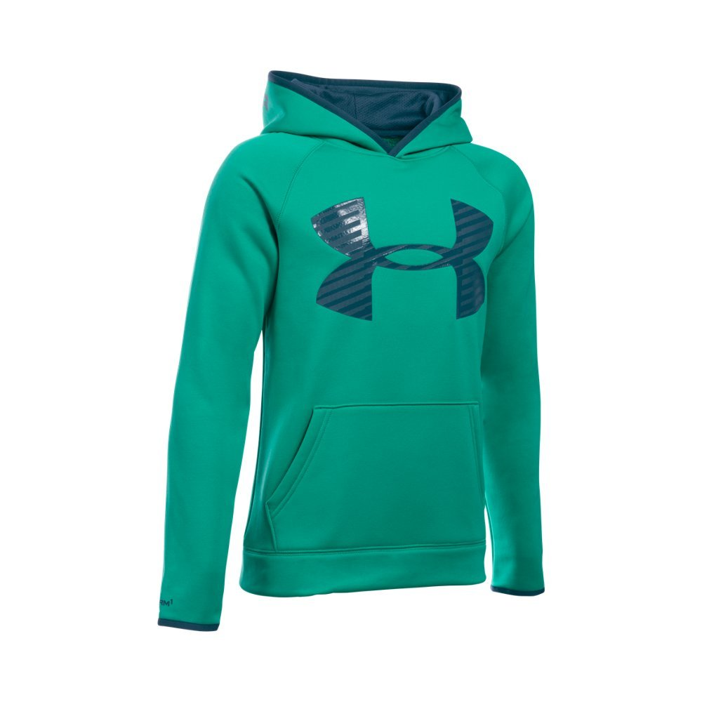 Under Armour Boys' Storm Armour Fleece Highlight Big Logo Hoodie, Geode Green/Nova Teal, Youth Small