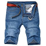 Soojun Men's Light Weight 5 Pocket Casual Denim Shorts, Style 1 Blue, 44W