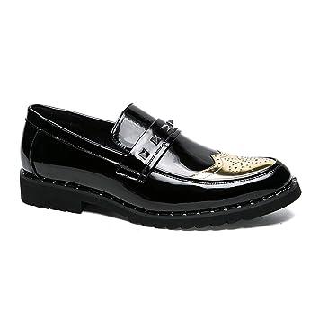 Mocasines de Cuero con Punta de ala para Hombre Zapatos de Vestir Clásicos de Brogue con Cordones de Prince Formal Brogue (Color : Gold, tamaño : 40 EU): ...