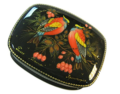 Russian Lacquer Box Palekh | Russian Lacquer Miniatures | Black Decorative Box | Lacquer Box for Storage | Gift Box for Women | Design Birds | Assorted design. (2)