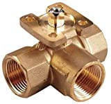 Johnson Controls VG1845AG Stainless Steel NPT Threaded End Connection Three-Way Ball Valves, 4.7 Cv Port, 1/2'' Size