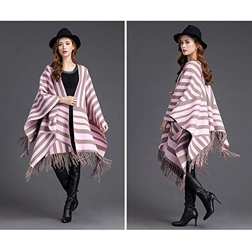 Sciarpa Tassel Cloak Scozzese Poncho Mantella Scialle Autunno Cardigan Strisce A Pink Uso Fashion Cappotto Doppio Primavera O4x8w0q14Y