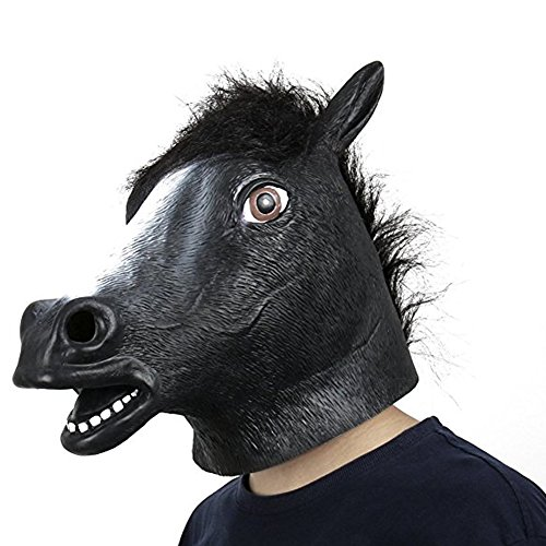 Monkey Latex Rubber Black Horse Head Mask Halloween Party Costume Decorations (Most Scary Halloween Costumes)
