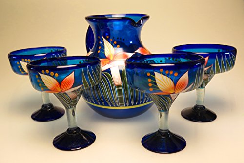 Mexican Glass Margarita and Pitcher, Hand Painted Orchid Flower (Set of 4) by Mexican Glass