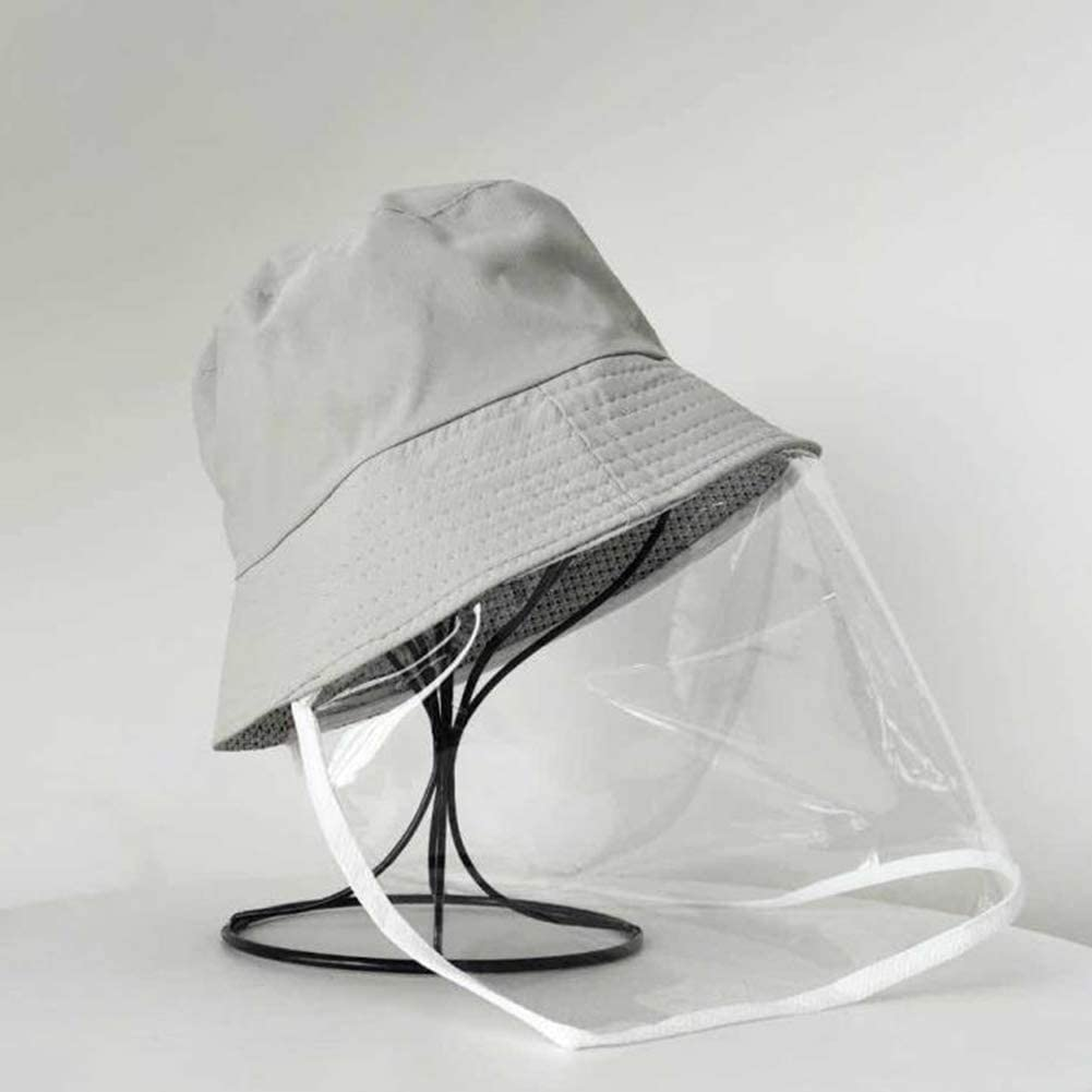 Yimixz Anti-Spitting Protective Bucket Hat with Transparent Face Cover Sandproof Sun Protection Anti-dust Hat
