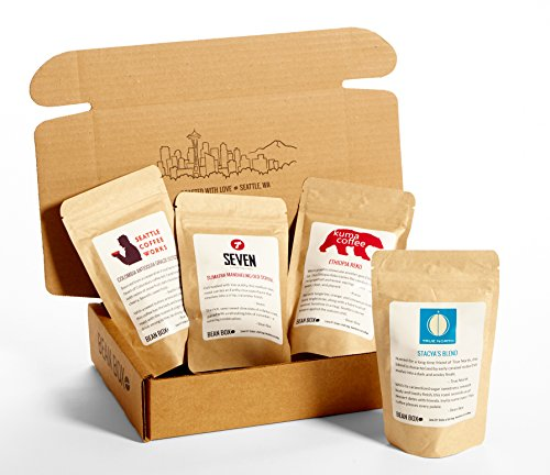 Coffee Gift Box (Bean Box Gourmet Coffee Sampler - (fresh roasted coffee gift box, specialty whole bean, 4 handpicked roasts, personalized gift note, Christmas gift, holiday gift))