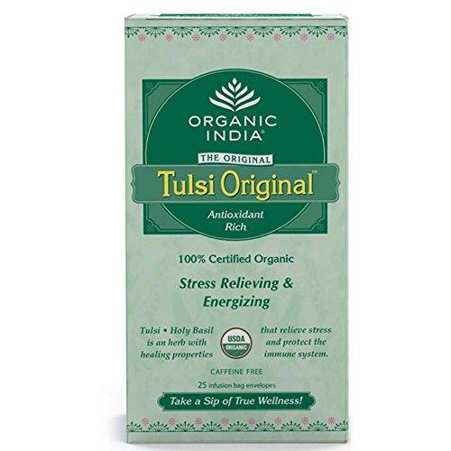 Tulsi Original Tea (Organic India Tulsi Holy Basil Original Organic Antioxidant Rich Caffeine Free Herbal Tea 25 Infusion Bags (25x1.74g Bags))