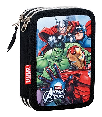 Avengers Plumier Triple, Estuche con 45 Piezas, niño