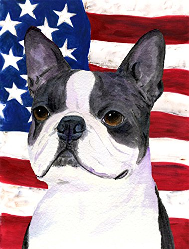 Caroline's Treasures SS4021CHF USA American Flag with Boston Terrier Flag Canvas, Large, Multicolor
