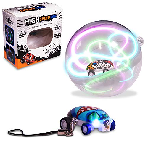 Windy City Novelties LED Micro Car Racers with Stunt Ball & Keychain | Includes 2 Mini Micro Cars, USB Charger, Stunt Ball & Keychain Hook -