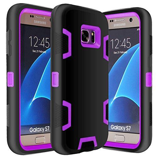 Galaxy S7 Case, E LV Samsung Galaxy S7 - Hybrid Defender Rugged Shockproof Dirtproof Case Cover for Samsung Galaxy S7 - [BLACK / PURPLE]