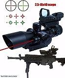 Twod Rifle Scope 3 in 1 2.5-10x40 Sight Red Laser Rail Mount+4 Reticle R&G Dot Open Reflex Sight w/ Weaver-picatinny Rail Mount+scope Barrel Mount
