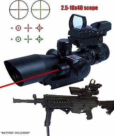 Twod Rifle Scope 3 in 1 2.5-10x40 Sight Red Laser Rail Mount+4 Reticle R&G Dot Open Reflex Sight w/ Weaver-picatinny Rail Mount+scope Barrel (3 8 Scope Mount Adapter)