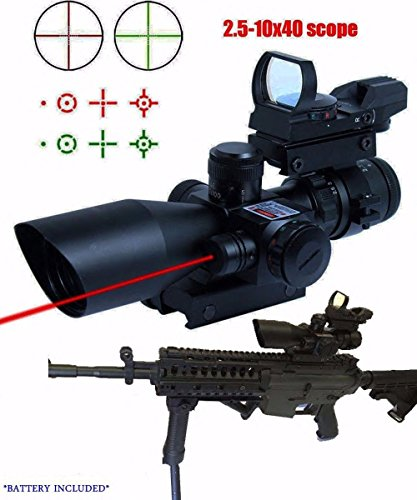Twod Rifle Scope 3 in 1 2.5-10x40 Tactical Red Laser Rail Mount+Tactical 4 Reticle R&G Dot Open Reflex Sight w/ Weaver-picatinny Rail Mount for 11 Mm Rails+scope Barrel Mount