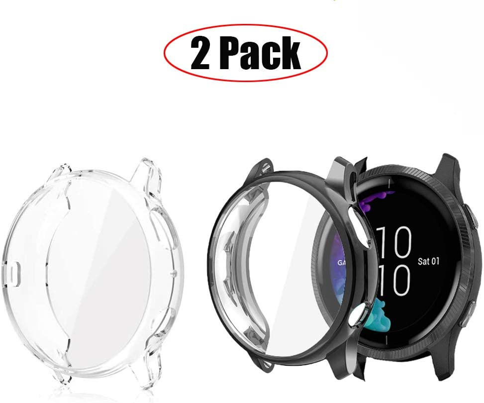 Blueshaw All-Around Protective TPU Bumper Cover Screen Protector Case Cover Compatible for Garmin Venu GPS Smartwatch 2 Pack-Black+Transparent Compatible for Garmin Venu Case