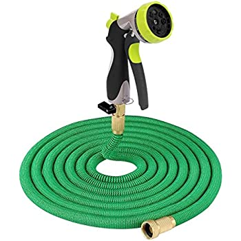 Riemex Expandable Hose 2017 NEW Best Garden Water Hose-TRIPLE LATEX- Expanding Solid Brass Fittings Connectors, Flexible Strongest - for all Watering Needs (75 FT, Green)
