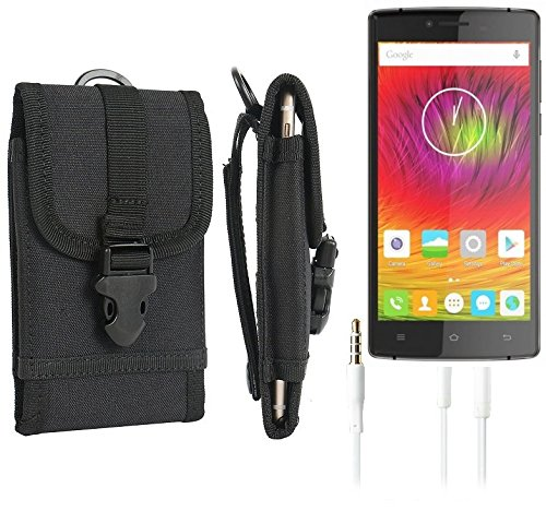 bolsa del cinturón / funda para Cubot S600, negro + Auriculares | caja del teléfono cubierta protectora bolso - K-S-Trade (TM)