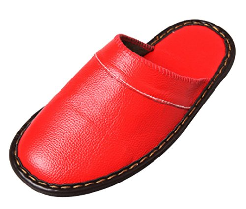 Cattior Womens Indoor Outdoor Slippers Leather Slippers Red tnIxdy