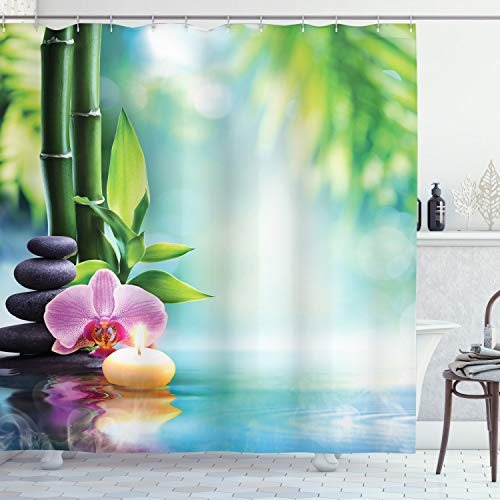 Ambesonne Spa Shower Curtain, Symbolic Spa Features with Candle and Bamboos Tranquil and Thoughtful Life Nature Print, Cloth Fabric Bathroom Decor Set with Hooks, 70 Long, Blue Black