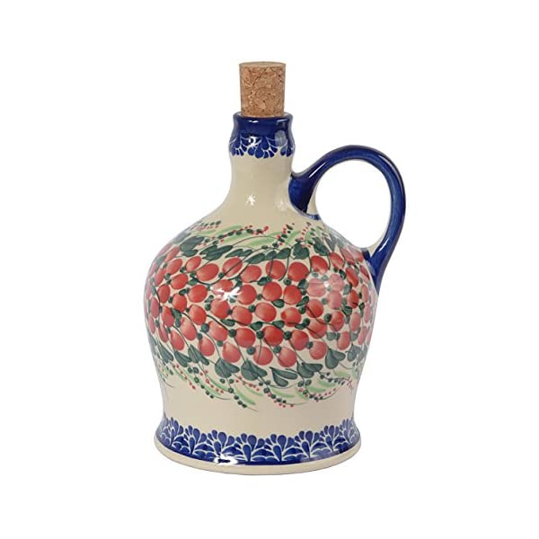 Traditional Polish Pottery, Handcrafted Ceramic Olive Oil or Vinegar Bottle with Handle (1000ml), Boleslawiec Style Pattern, V.601.Cranberry