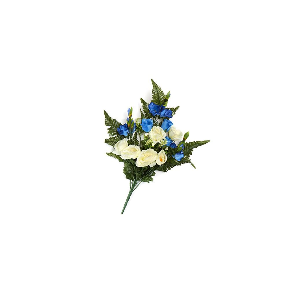 Factory Direct Craft Cream and Blue Poly Silk Mixed Rose and Gladiolus Half Bush | for Memorials