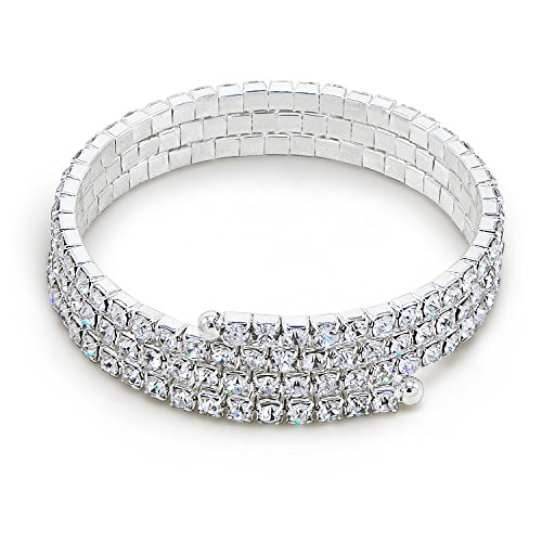 3 Row Stretch Rhinestone Bracelet - Katie's Style 3 Rows Rhinestone Crystal Wraparound Coil Style Bridal Stretch Fashion Wrap Bracelet