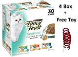 Purina Fancy Feast Classic Seafood Feast Collection Cat Food 3 oz. (4 Box of 30 Cans - Freebie)