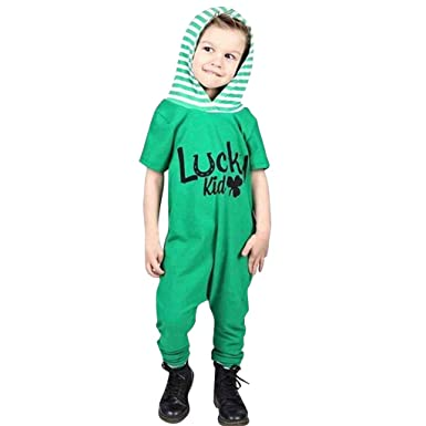 f30ca6525c79 Amazon.com  NUWFOR Infant Baby Short Sleeve St. Patrick s Day Hooded  Striped Jumpsuit Romper White  Clothing