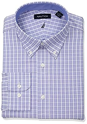 Nautica Men's Classic Fit Performance Plaid Button Down Collar Dress Shirt, Blue