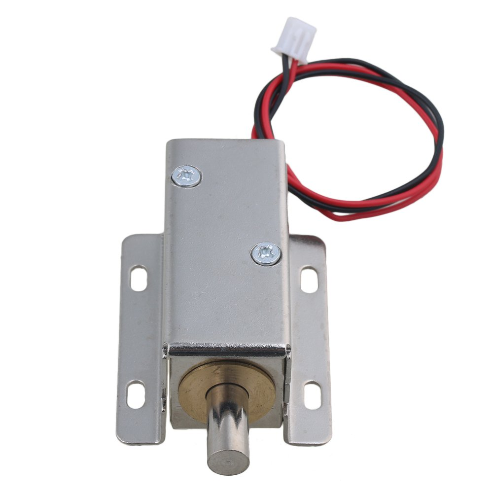 CNBTR DC24V 0.6A 7.5W Stroke 10mm TFS-A21 Electric Lock Assembly Solenoid File Lock Round Head Latch Silver for Cabinet Door