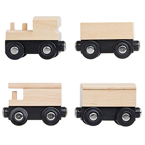 Orbrium Toys Unpainted Wooden Train Cars Compatible with Thomas, Chuggington, Brio, Pack of 4, Great for Party ()