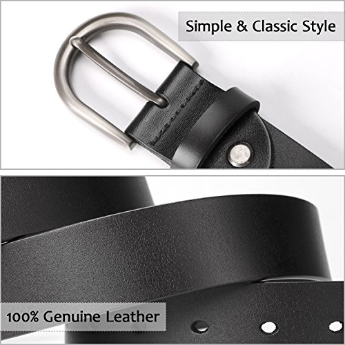 Women Belts for Jeans Dress Pants,SUOSDEY Black Genuine Leather Belts for Women by SUOSDEY (Image #3)