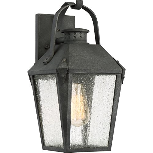 Quoizel CRG8408MB One Light Outdoor Wall Lantern, Medium, Mottled Black
