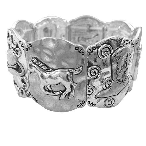 (Gypsy Jewels Mixed Theme Panel Stretch Bracelet (Western Horse Cowboy hat Boot & Horseshoe))