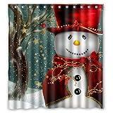 Christmas Snowman Gift Tree Santa Design of Waterproof Bathroom Fabric Shower Curtain with 12hooks