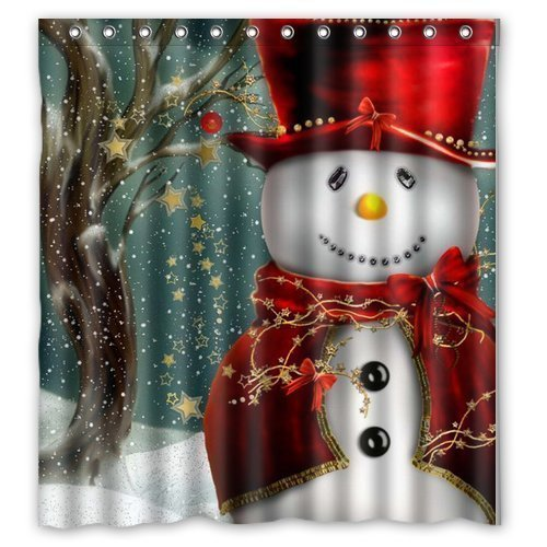 christmas snowman gift tree santa design of waterproof bathroom fabric shower curtain with 12hooks 66x72 - Christmas Bathroom Decorations