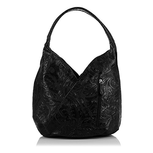 Vera Colour nbsp;cm Made Italy Tote Artegiani Italian Black Leather Shoulder 33 Women Engraved Genuine Bag Floral Women Firenze 18 nbsp;x Boho In Pelle C6gxq1wRR