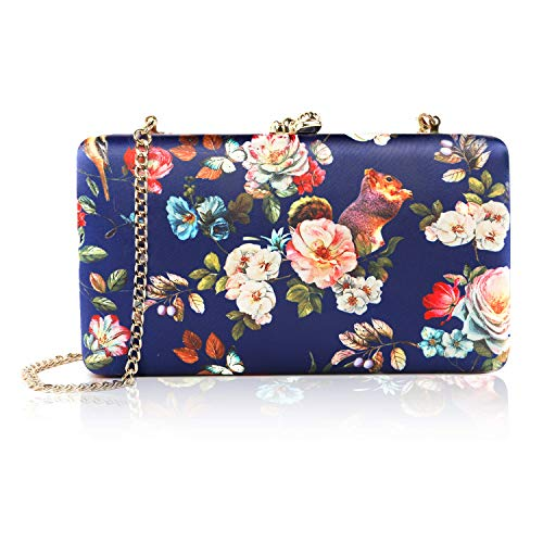 two the nines Women's Floral Print Satin Evening Bag Clutches Thin Chain Hardcase Purses,Navy (Ladies Shell Shaped Handbags)
