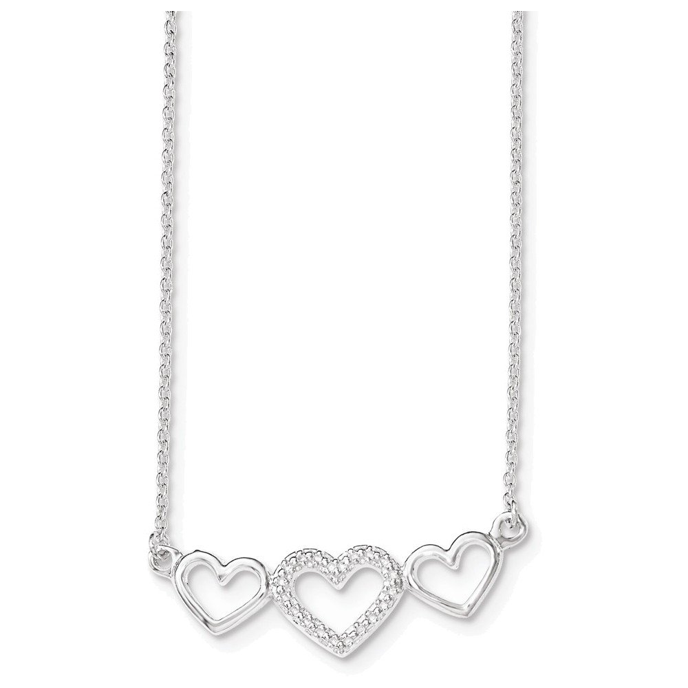 Sterling Silver Polished//Textured Three Heart Necklace