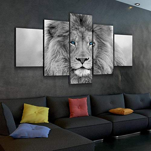 Lion Head Pictures - JESC Black White King Lion Head Portrait Wall Art Blue Eyes Painting Pictures Print On Canvas Animal The Picture for Home Modern Decoration