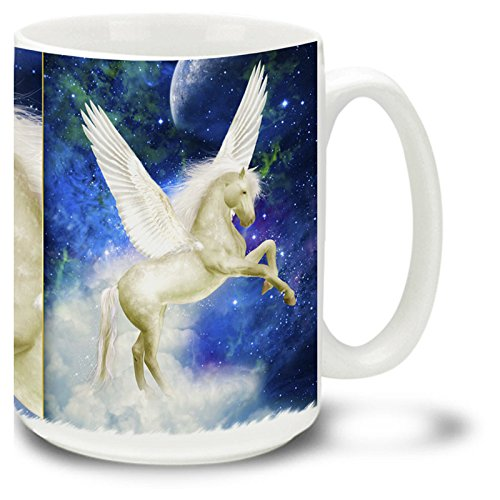 Pegasus Ceramic Handles (Winged Pegasus Horse - 15 oz Large Ceramic Coffee Mug)