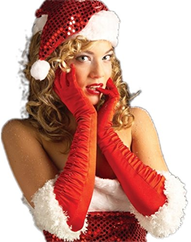 Sexy Miss Santa Red Satin Gloves ()