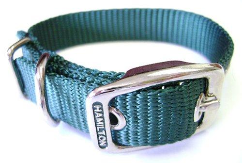 Hamilton 5/8-Inch by 20-Inch Single Thick Nylon Deluxe Dog Collar, Dark Green